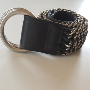 DKNY Leather and Chain Belt